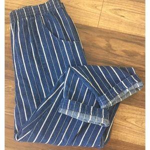 Vintage High Waist Tapered Leg Striped Mom Jeans